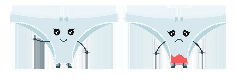 ilustrações de calcinhas limpa e com sangramento de escape