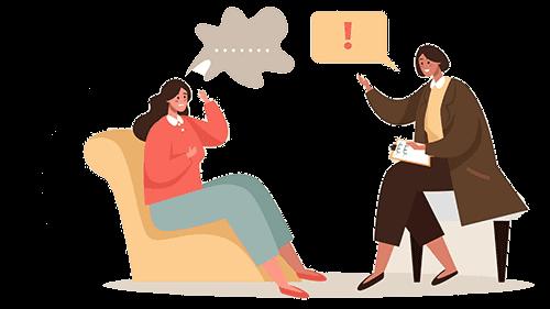 ilustração de uma sessão de terapia