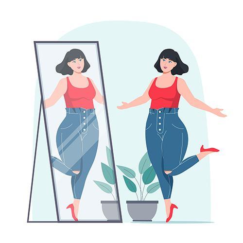 ilustração jovem com autoestima olhando no espelho