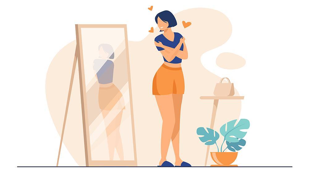 ilustração jovem se olhando no espelho com amor após criar hábitos saudáveis