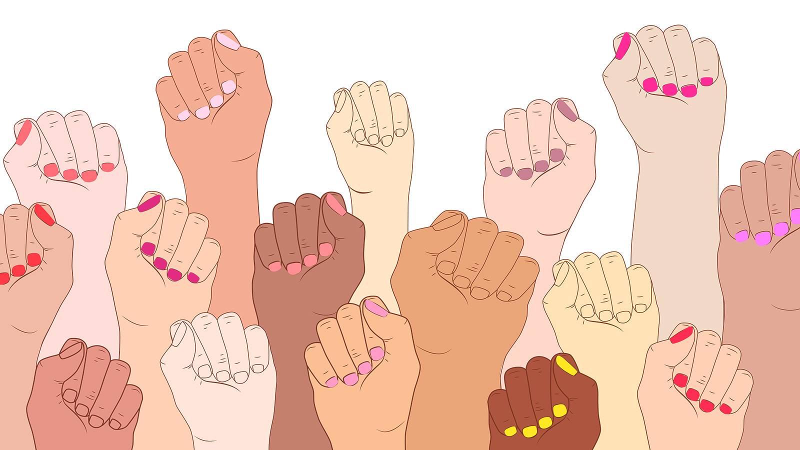 Ilustração de punhos femininos levantados representando mulheres fortes
